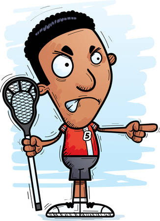 A cartoon illustration of a black man lacrosse player looking angry and pointing.
