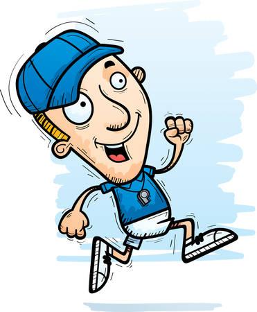 A cartoon illustration of a man coach running.  イラスト・ベクター素材