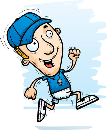 A cartoon illustration of a man coach running. Illustration