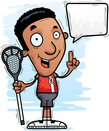 A cartoon illustration of a black man lacrosse player talking.