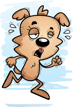A cartoon illustration of a female dog running and looking exhausted. Banque d'images - 102046824