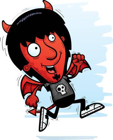 A cartoon illustration of a demon running. 向量圖像
