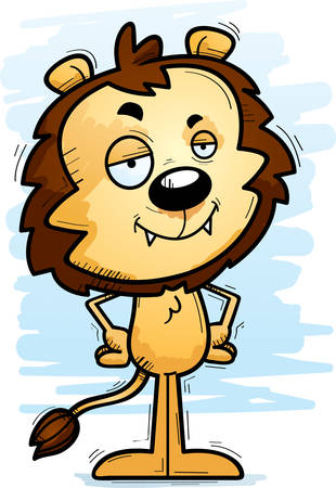 A cartoon illustration of a male lion looking confident.