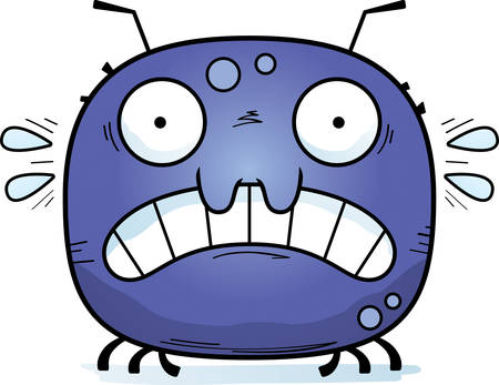 A cartoon illustration of a tick looking scared.