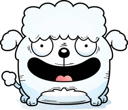 A cartoon illustration of a little poodle smiling. 向量圖像