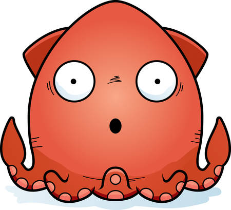 A cartoon illustration of a squid looking surprised.