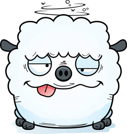 A cartoon illustration of a lamb looking drunk.
