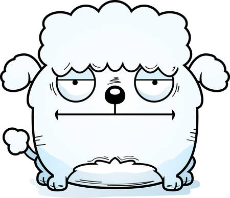 A cartoon illustration of a little poodle looking calm. Illustration