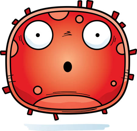 A cartoon illustration of a red blood cell looking surprised.