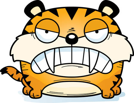 A cartoon saber-toothed tiger cub with an angry expression.