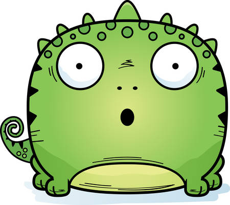 A cartoon illustration of a lizard looking surprised.
