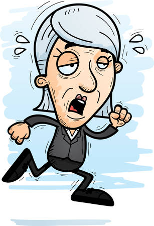 A cartoon illustration of a senior citizen businesswoman running and looking exhausted.