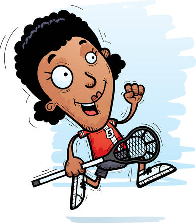 A cartoon illustration of a black woman lacrosse player running.