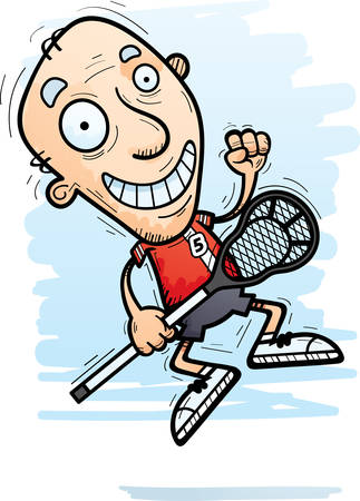 A cartoon illustration of a senior citizen man lacrosse player jumping.