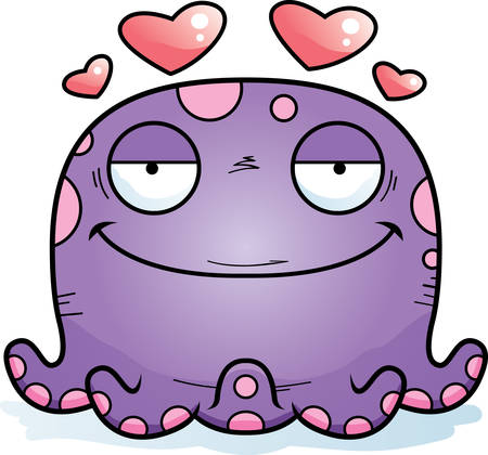 A cartoon illustration of a octopus in love.