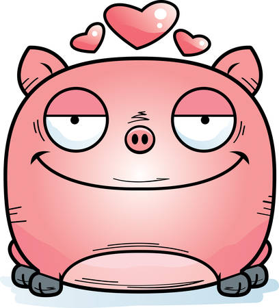 A cartoon illustration of a little pig in love.