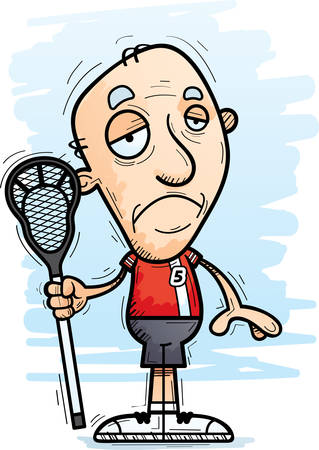 A cartoon illustration of a senior citizen man lacrosse player looking sad. Illustration