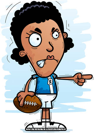 A cartoon illustration of a black woman football player looking angry and pointing. Illusztráció