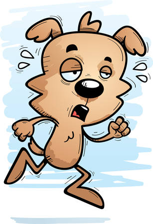 A cartoon illustration of a male dog running and looking exhausted.