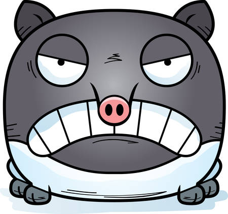 A cartoon illustration of a tapir looking angry. Illustration