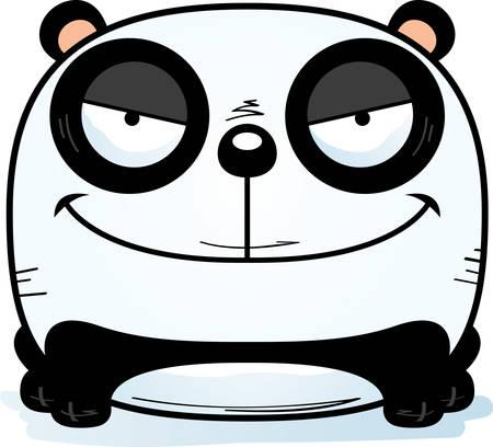 Une illustration de dessin animé d'un petit panda avec une expression sournoise.