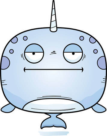 A cartoon illustration of a narwhal looking bored. Illustration