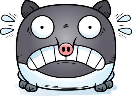 A cartoon illustration of a tapir looking scared. Çizim