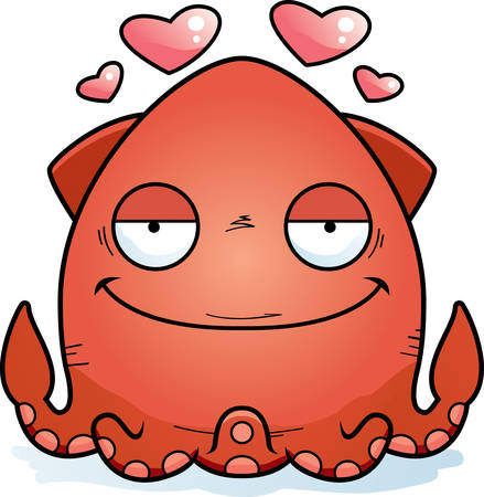 A cartoon illustration of a squid in love.