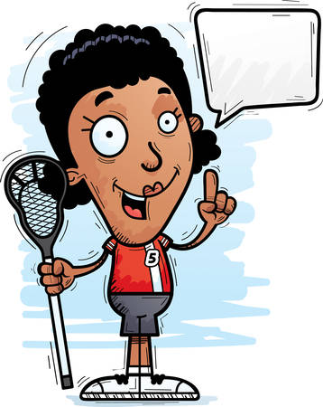 A cartoon illustration of a black woman lacrosse player talking. Illustration