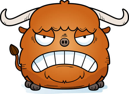 A cartoon illustration of a yak looking angry.