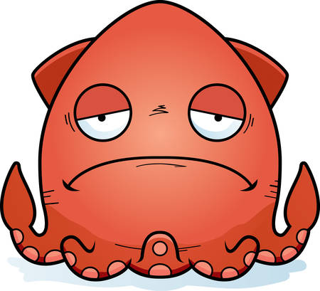 A cartoon illustration of a squid looking sad. Иллюстрация