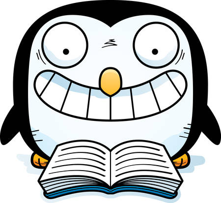 A cartoon illustration of a penguin reading a book. 矢量图像