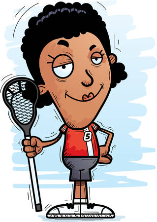 A cartoon illustration of a black woman lacrosse player looking confident.