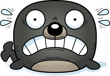 A cartoon illustration of a seal looking scared. Çizim
