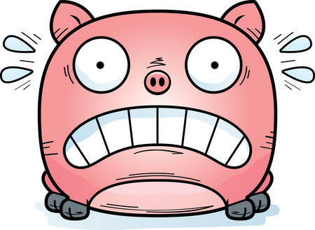 A cartoon illustration of a little pig looking terrified.