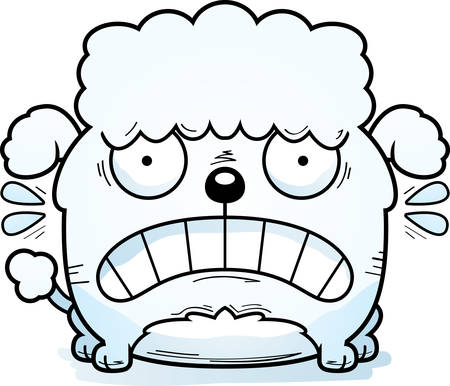 A cartoon illustration of a little poodle looking terrified.