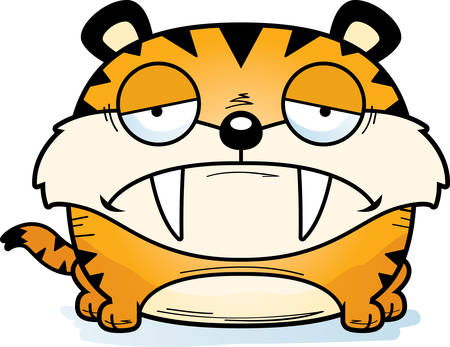 A cartoon illustration of a saber-toothed tiger cub with a sad expression.