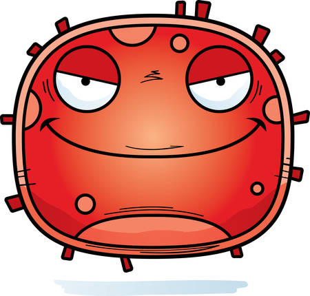 A cartoon illustration of an evil looking red blood cell.