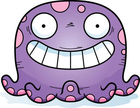 A cartoon illustration of a octopus looking happy.