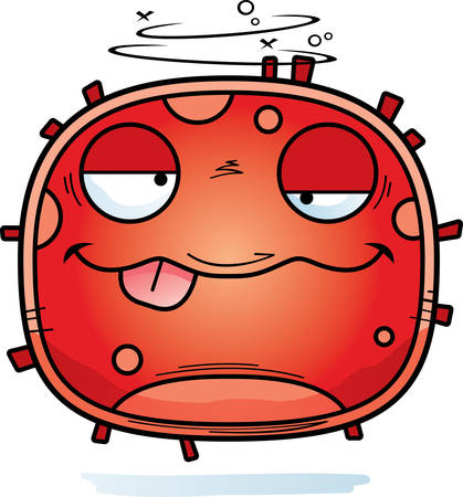 A cartoon illustration of a red blood cell looking drunk.