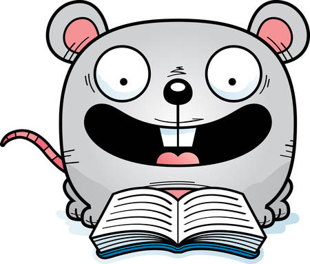 A cartoon illustration of a mouse reading a book. Stock fotó - 102047459