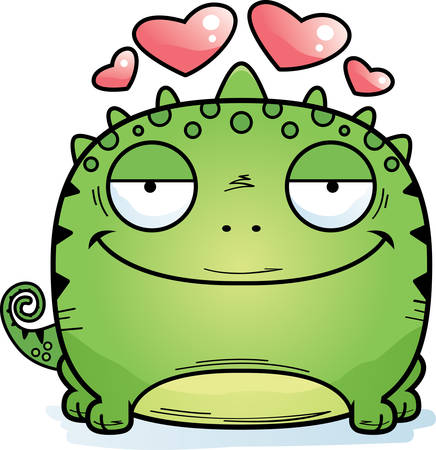 A cartoon illustration of a lizard in love. 일러스트