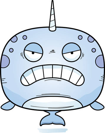 A cartoon illustration of a narwhal looking angry. Illustration