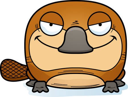 A cartoon illustration of a little platypus with a devious expression.