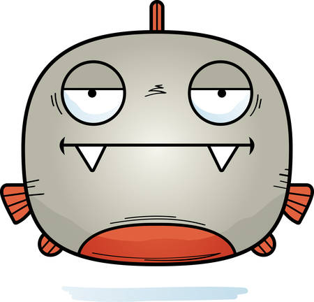 A cartoon illustration of a piranha looking bored.