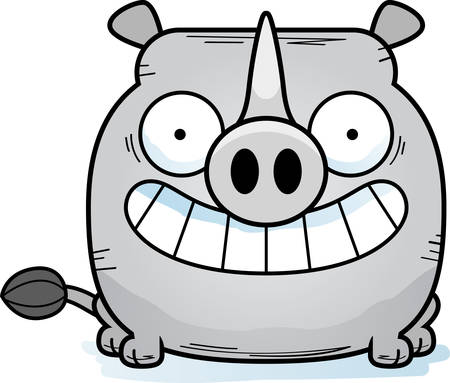 A cartoon illustration of a little rhinoceros happy and smiling.