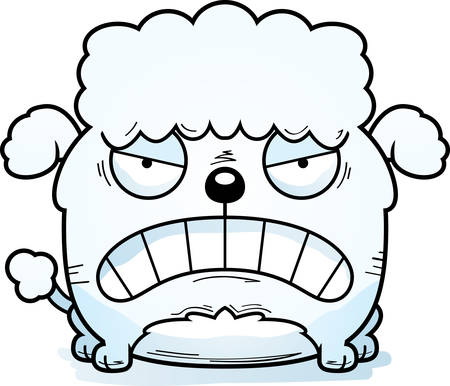 A cartoon illustration of a little poodle looking mad.