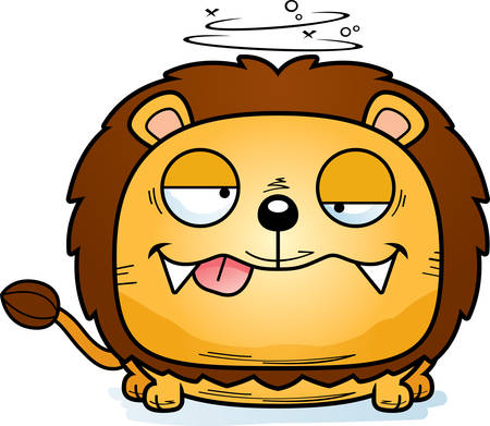 A cartoon illustration of a lion cub with a goofy expression. Illustration