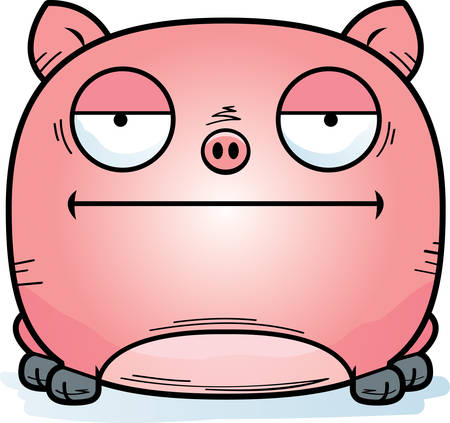 A cartoon illustration of a little pig looking calm. Illustration
