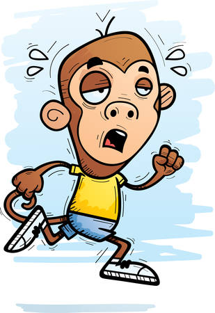 A cartoon illustration of a monkey running and looking exhausted.